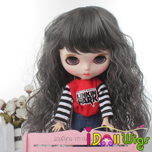 Doll Wigs Long Curly Dark Grey Hair for Blyth/Pullip Doll with 25cm Head Circumference кукла pullip little dal doll panty