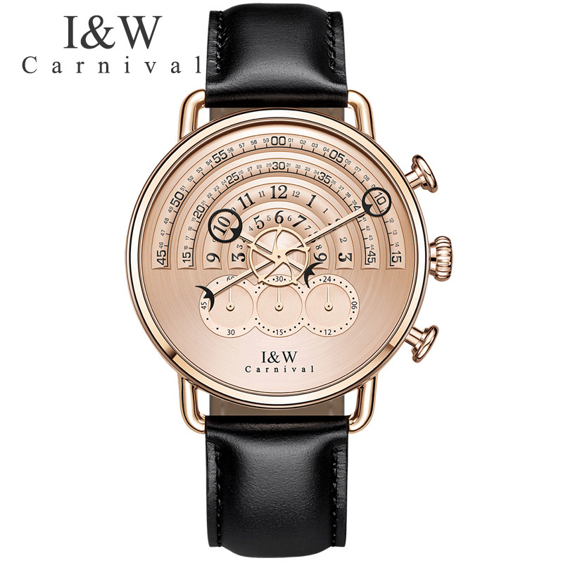 Unique Design Business Watches Carnival Men Chronograph Sports Quartz Watch Black Leather Wristwatches Sapphire Rose gold Case seiko watch premier series sapphire chronograph quartz men s watch snde23p1