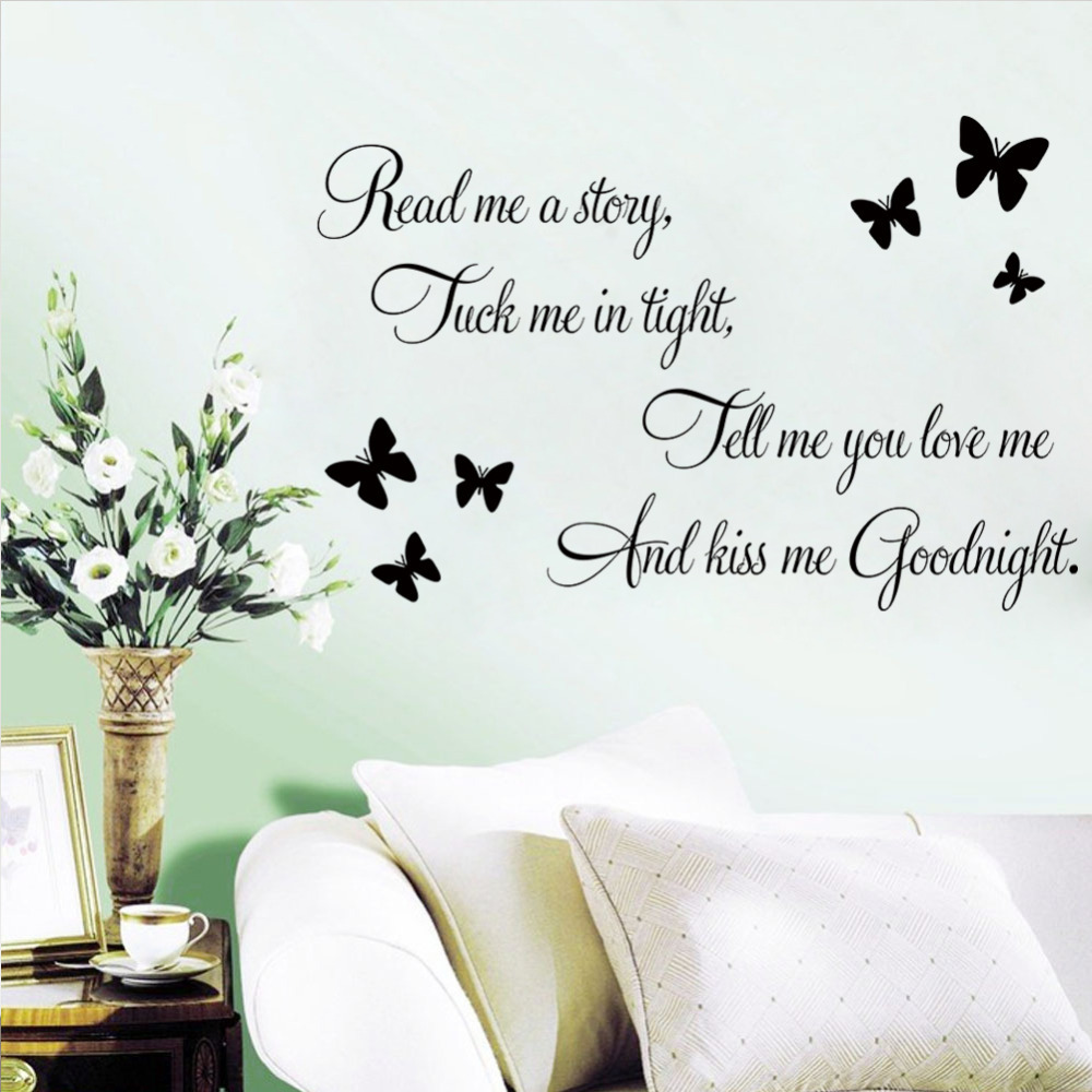 ZooYoo Tell Me You Love Me Kiss Me Goodnight Quote PVC Wall Decals Hot Selling Wall Sticker For Bedroom Decor