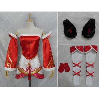 Hot Game The Nine-Tailed Fox Ahri Cosplay Costume Custom Made