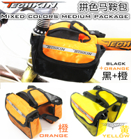 Factory production20312 Bilateral irregular black yellow orange TECHKIN saddle bag (with rain cover )|saddle bag|bag saddle|rain bag -