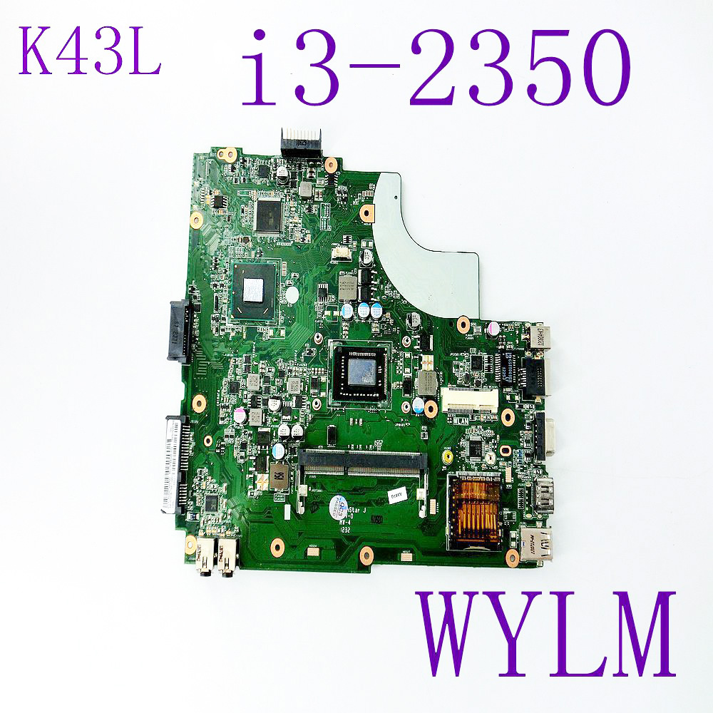 K43L With i3-2350 CPU REV 5.0 Mainboard For ASUS Laptop Motherboard K43 K43E K43SD HM65 DDR3 100% fully tested working well ux21e for asus laptop motherboard mainboard i3 cpu 4g qs67 chipset usb3 0 with 100% tested