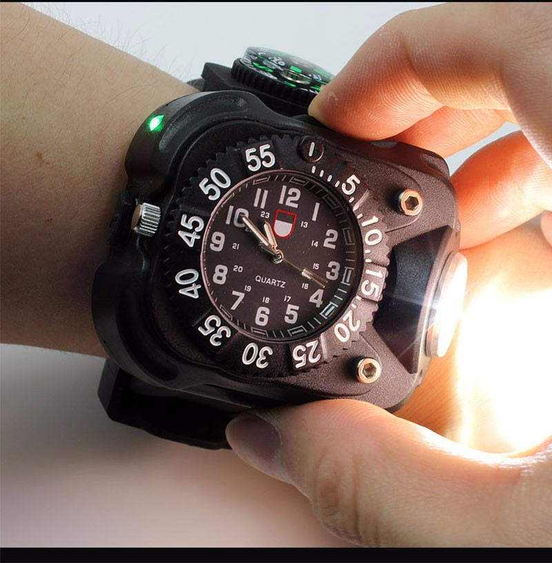 Rechargeable LED Watch Flashlight Tactical Compass Flash Torch Wristlight Waterproof Wrist Portable Lighting Camping Bycling super bright led watch flashlight torch lights compass outdoor sports mens fashion waterproof rechargeable wrist watch lamp