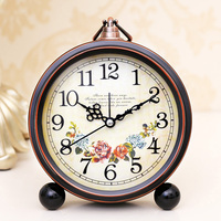 Electronic Alarm Clock Student Bedside Retro European Living Room Fashion Bedroom Multi Function Small Clock Dial