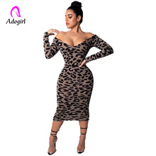 купить Leopard Print Women Maxi Dress Summer Sexy Vintage Dress Female Slim Off Shoulder Party Bodycon Causal Dress Robe Retro Vestidos дешево