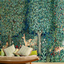 Custom rainforest living room TV background 3D wallpaper for wall 3d mural wallpaper covered with large forest deer topic