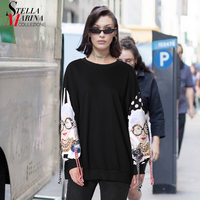 New 2018 Spring Women Top Oversized Black Pullover Sweatshirt Long Sleeve With Printed Patches Girl Streetwear