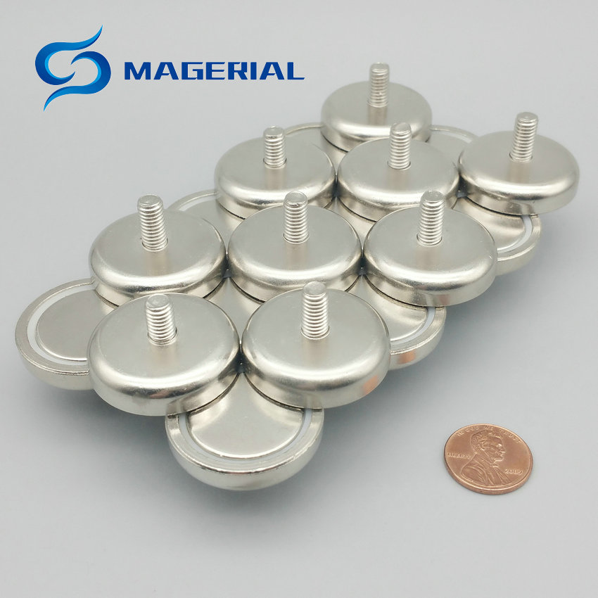 1 Pack Mounting Magnet Diameter 16-75mm Clamping Pot Magnet with Male Thread Neodymium Lifting Magnet Permanent Holding Magnet 1 pack mounting magnet diameter 12 mm clamping pot magnet with steel hook neodymium lifting magnet strong magnet lathed cup