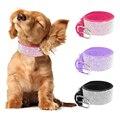 Bling Rhinestone Lleno de Cristal de Mascotas Collares de Perro Del Diamante Negro Rosa Purple Soft Leather Seude Para Perros Grandes y Medianas S M L