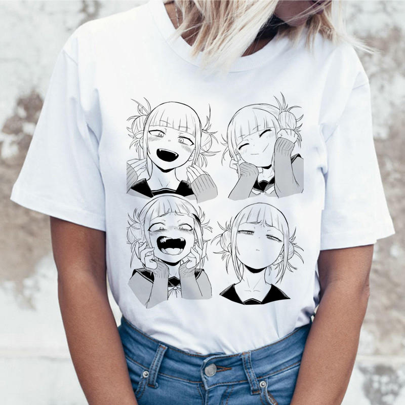 Ahegao Cartoon T Shirt Women Harajuku Boku No Hero Academia Anime T-shirt Senpai Funny Tshirt Hentai Himiko Toga Top Tees Female