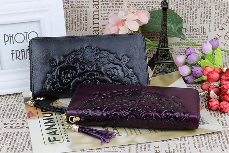 mulheres couro genuíno, padrão carteiras longo bolsa-Designer De marcas de couro real