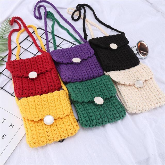 Ladies Leisure Woven Messenger Bag Key Mobile Phone Earphones Storage Handmade  Handbag Girl Bag For Women Shoulder Bags Handbags b054870b83d71