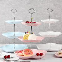 Fruit Dishes Ceramic Cake Plate Sets 3 Layer Pastry Candy Snack Tray Kitchen Accessories Fruit Tray Home Decoration