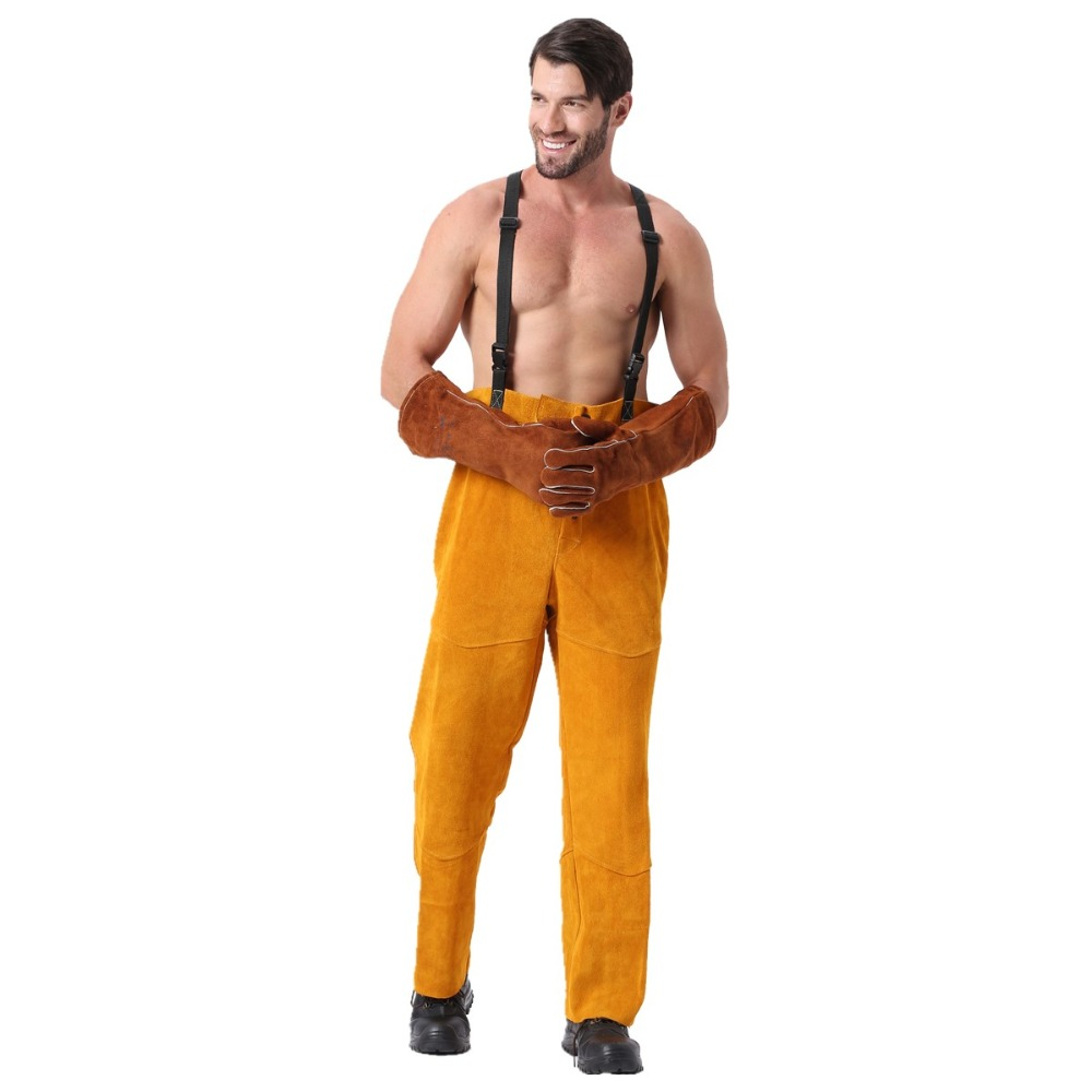 Leather Welding Pants Chaps Trousers Flame/Heat/Abrasion Resistant Cowhide Leather Worker Britches Romper for Welding Protection one set leather welding strap trousers