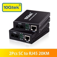 Pair of 20KM SC to RJ45 Gigabit Ethernet Media Converter Single Mode Dual SC Fiber 1000Base LX to 10/100/1000Base Tx, 1310nm SMF