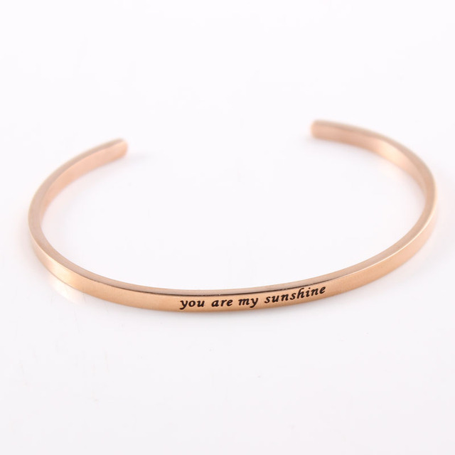 Famous Brand Jewelry Rose Gold Bracelet Quotes You Are My Sunshine Mantra Bracelets Inspirational Stainless Steel