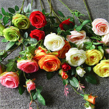 20pcs Artificial Tea Rose Flower Fake 95cm Stem Flowers 4 Head/Piece for Event Wedding Home Floral Decoration