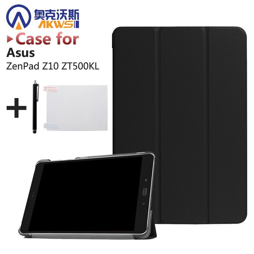 Caso ultra delgado de cuero pu cubierta del soporte para Asus zenpad z10 zt500kl 9.7 ''Tablets + protector de pantalla Películas + lápices para pantalla táctil