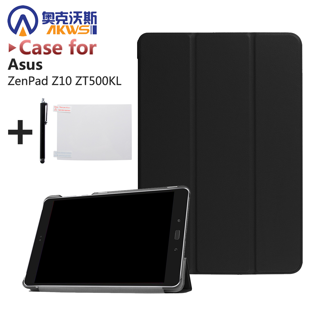 Ultra Slim PU Leather Case Stand Cover for ASUS ZenPad Z10 ZT500KL 9.7'' Tablet + Screen Protector Film + Stylus 3 in 1 top quality pu leather case cover for asus memo pad 8 me181c me181 k011 screen film stylus and