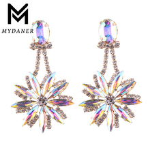 MYDANER 2017 Fashion Women Luxury Crystal Rhinestone Flower Long Dangle Earrings for Women Drop Earrings Statement Charm Jewelry