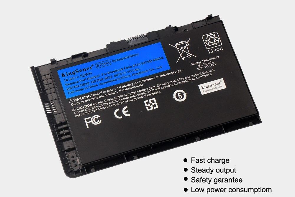 KingSener Nouveau BT04XL Batterie pour HP EliteBook Folio 9470 9470M 9480M HSTNN-IB3Z HSTNN-DB3Z HSTNN-I10C BA06 687517-1C1 687945-001 - 2