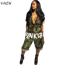 d960ea19480a7 VAZN Top Quality New Design 2018 Military Style Women Jumpsuit Camouflage  Zipper Half Sleeve Calf-