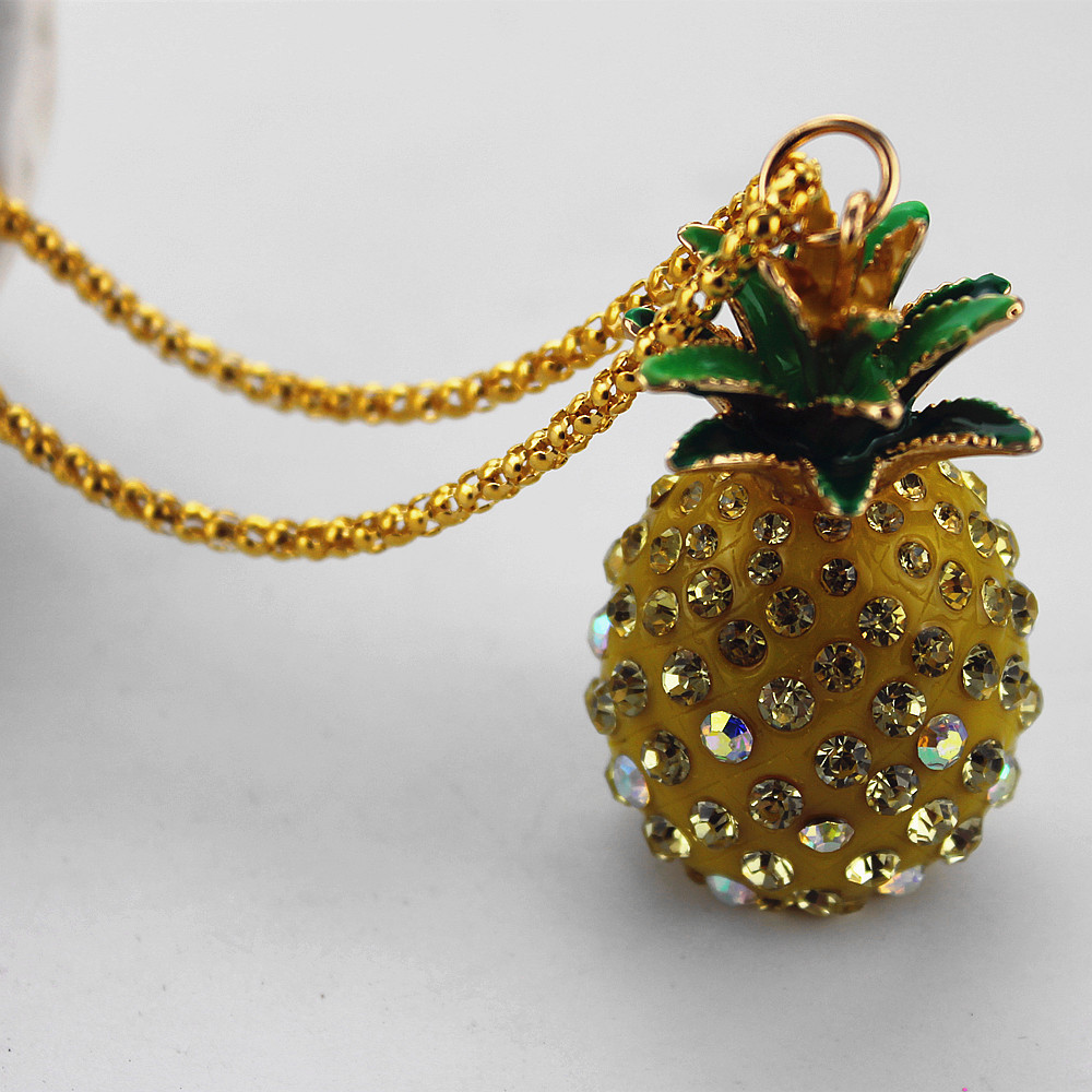 XQ Free shipping fashion jewelry Fashion yellow pineapple lady party necklace pendant necklace