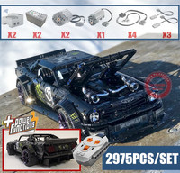 New Motor Power function 1965 Ford Mustang Hoonicorn Car fit legoings Technic MOC 22970 FIT 20102 building block bricks kid toy