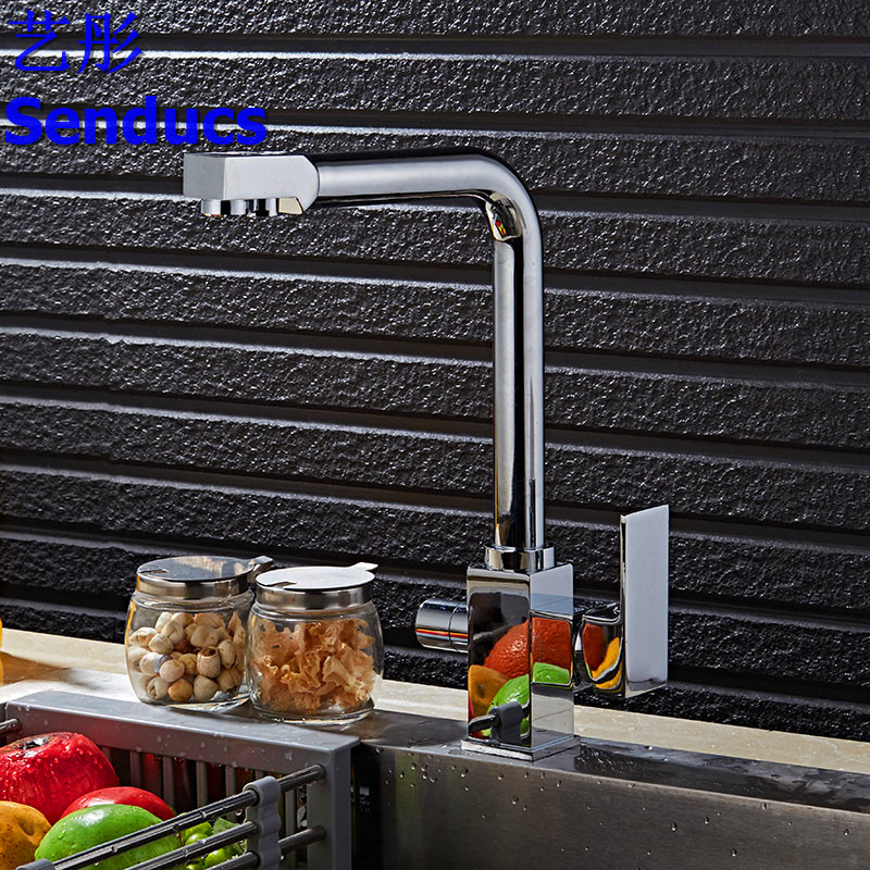 Free shipping Senducs Filter kitchen sink faucet with solid brass kitchen faucet and black kitchen filter