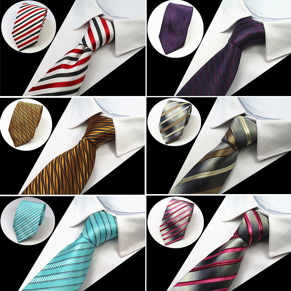 RBOCOTT vīriešu klasiskās kaklasaites 8cm kaklasaite zils svītrains kaklasaites kakla kaklasaites dzeltens un violets un sudrabains biznesam sarkanās kāzas