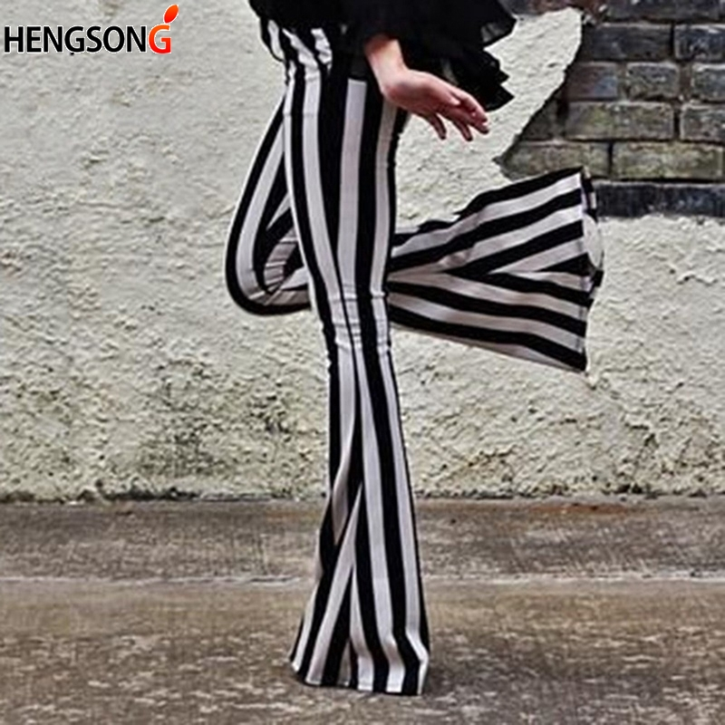 Striped Wide Leg Pant For Women Elastic High Waist Large Size Long Trouser Autumn Female 2018 Fashion Flare Pants OL Clothes