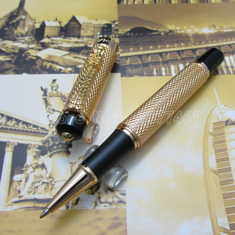JINHAO Gold Surface DRAGON Clip Roller ball Pen Silver Black gold White Bronze Brass Optional JH1288 noble jinhao old grey two dragon play pearl roller ball pen crystal golden silver 3 colors for choose