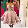 Elegant Querida Appliuqed Flor Sem Mangas Na Altura Do Joelho Vestidos Curtos Prom