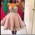 Elegant Sweetheart Appliuqed Flower Sleeveless Knee Length Short Prom Dresses