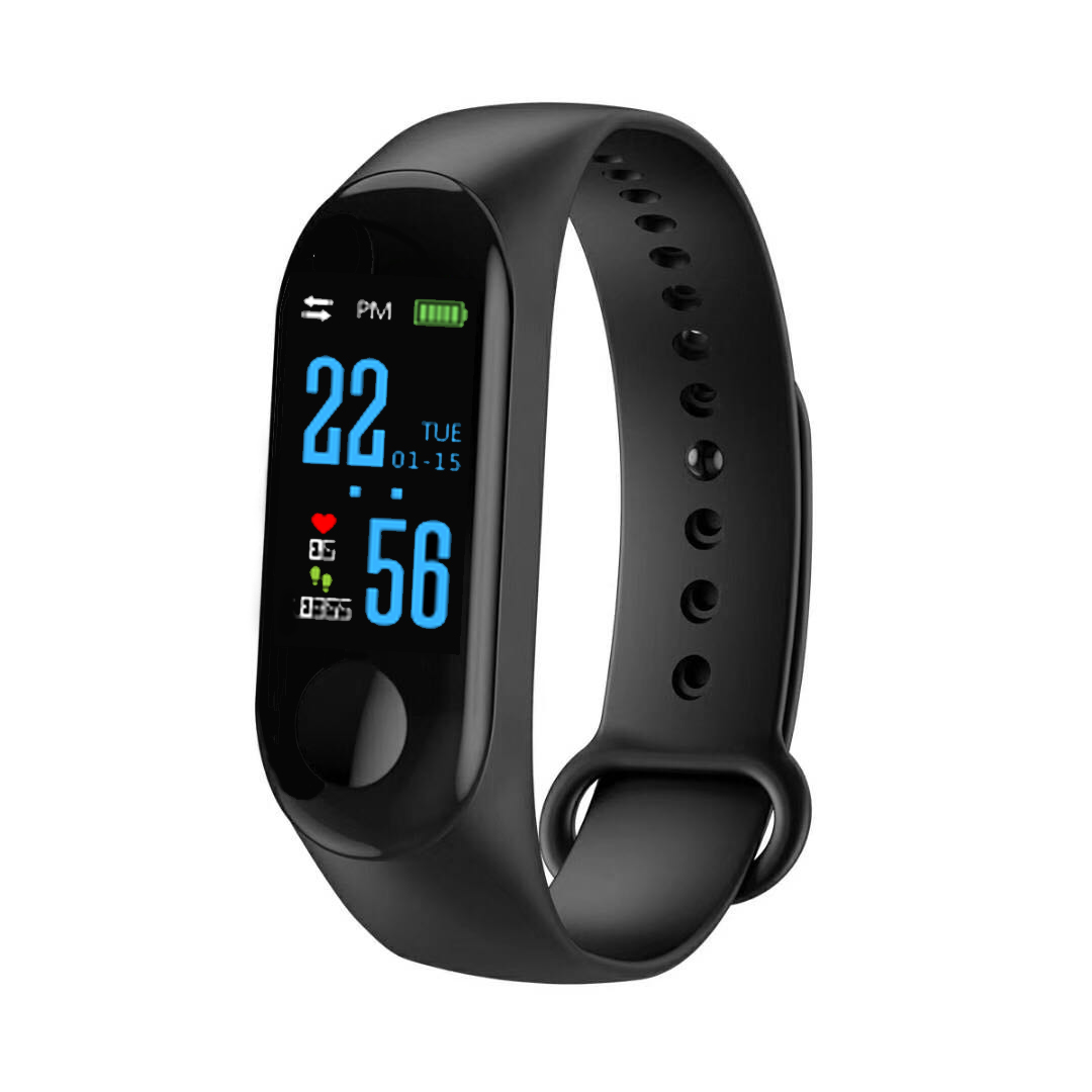 M3 Men Women Kids Wristband Watch Colorful Screen Blood PressureHeart Rate Monitor Smart Sport Watch Pedometer For Android IOS