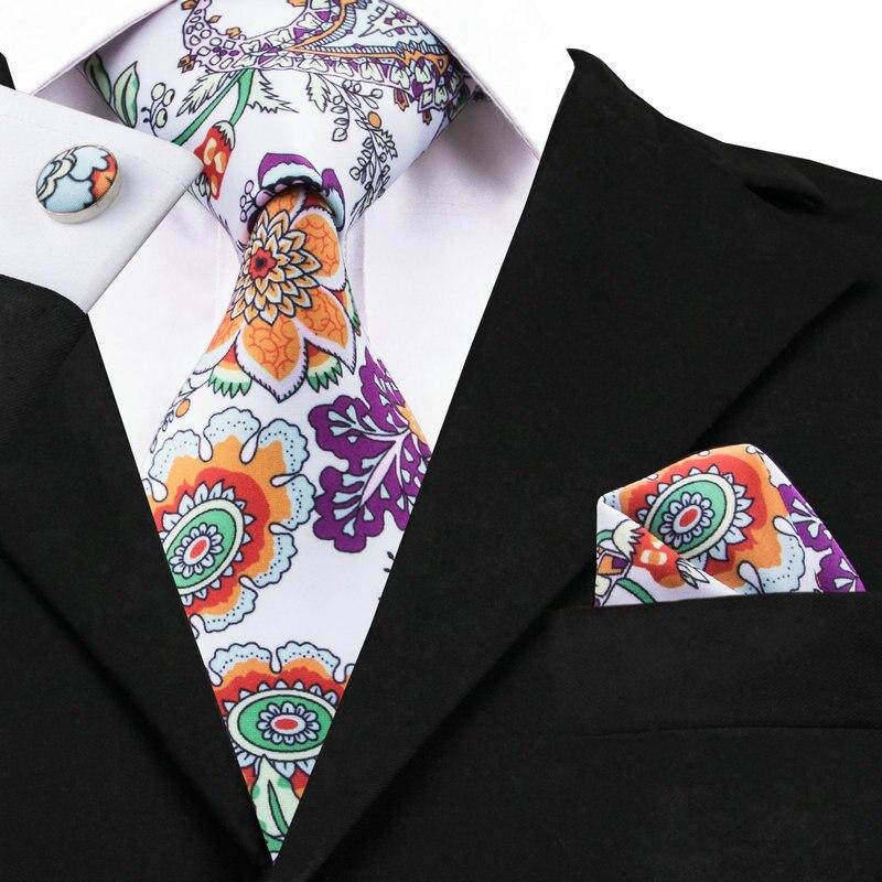 C-1216 Weiß Orange Drucken Herren Krawatten Krawatten Taschentuch Manschettenknöpfe Neuheit Floral Krawatten Für Männer Hemd Seide Corbatas