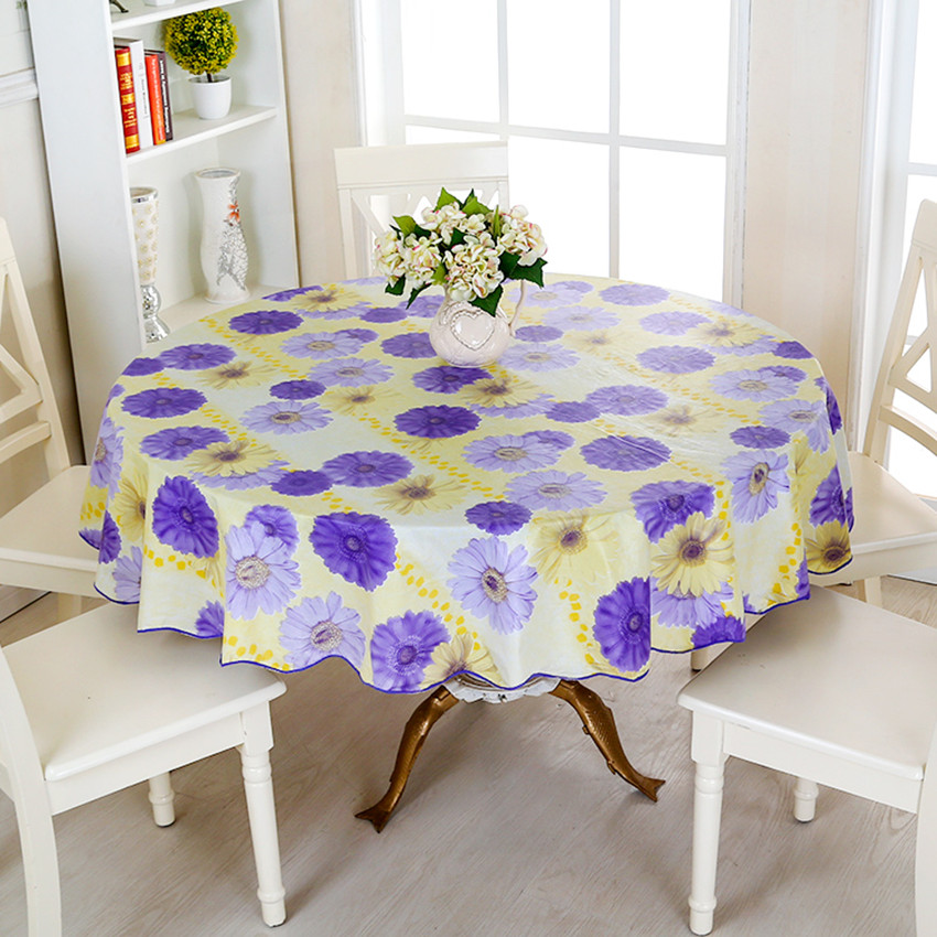 Elegant Pastoral PVC Round Table Cloth Waterproof Oilproof Floral Printed Lace Edge  Plastic Table Covers Anti Hot