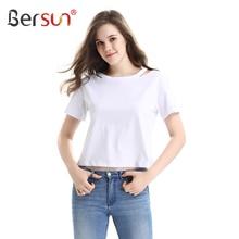 Bersun 2017 Fashion Summer White T-Shirt Women Short Sleeve Casual Tops Tees Female Strapless Cotton T Shirt