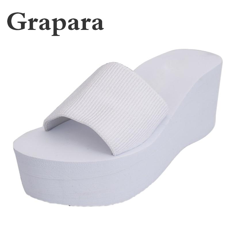 00cdeee08338b Summer Rainbo EVA Ladies Women Sandals shoes Platform bath slippers Wedge Beach  Flip Flops High Heel ...