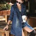 Denim foso para las mujeres 2017 otoño más el tamaño de doble botonadura abrigo de mezclilla floja femenina prendas de vestir exteriores ocasional 4XL 5XL