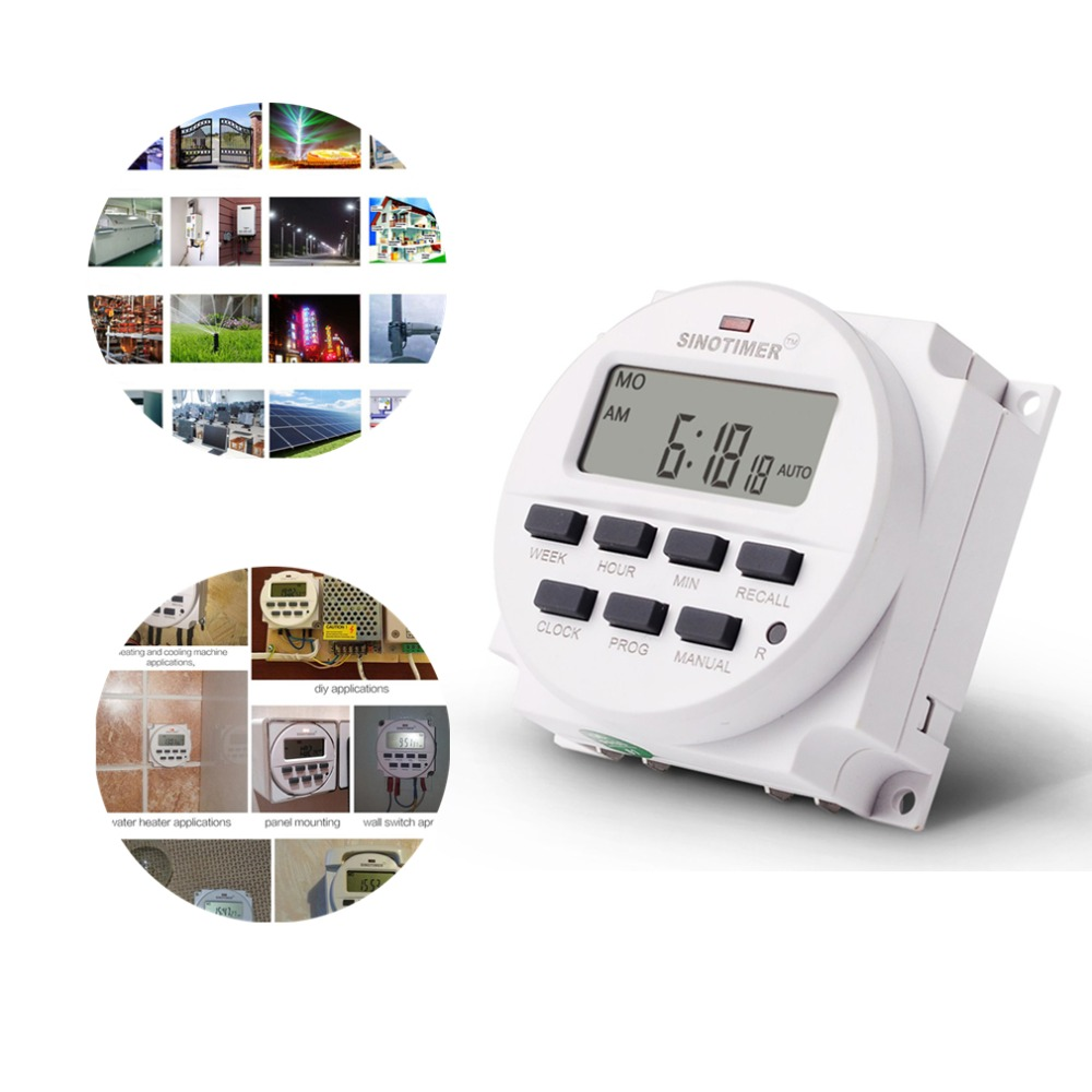 SINOTIMER AC 220V Weekly 7 Days Programmable Digital Time Switch Relay Timer Control Din Rail Mount for Electric Appliance