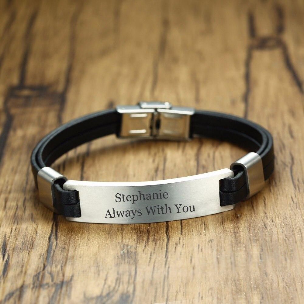 Engravable Black Double Leather ID Bracelet for Men Wristband Bangle Pulseira Braslet bileklik Armband Male Jewelry 8.5 inch