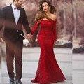 Sin tirantes de Manga Larga de 2016 Nuevos Atractivos Del Verano Elegante de Encaje Rojo Sirena Vestidos de Baile de Noche Largo Vestido de Fiesta vestido de festa