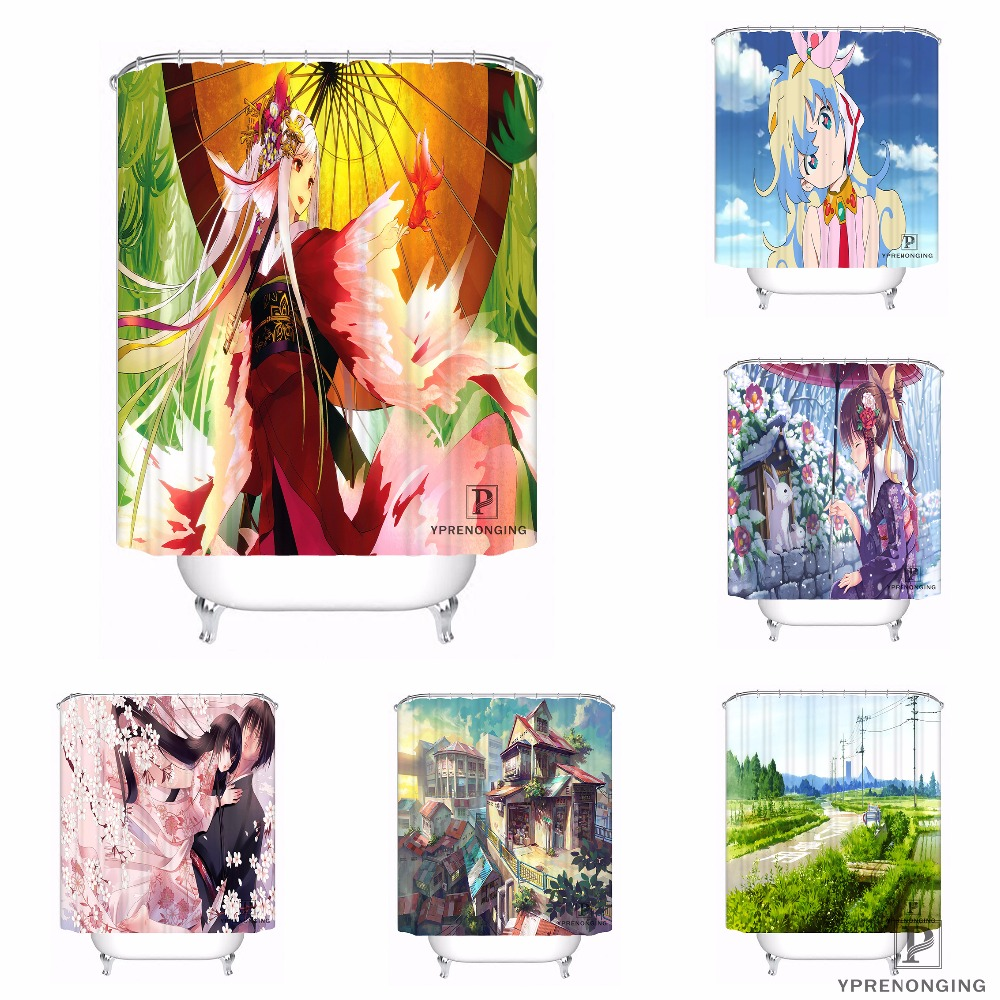 Custom Hatsune Miku Waterproof Shower Curtain Home Bath Bathroom s Hooks Polyester Fabric Multi Sizes#180421-Sina-05