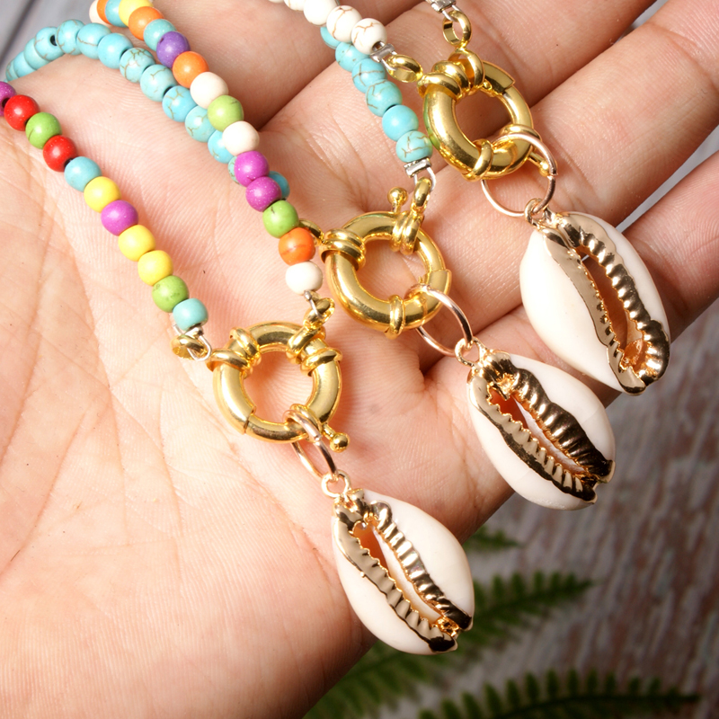 MOON GIRL Cowrie Shell Choker Colorful Beads Necklace for Women Fashion Trendy Bohemian Bib Collier Femme Dropshiping