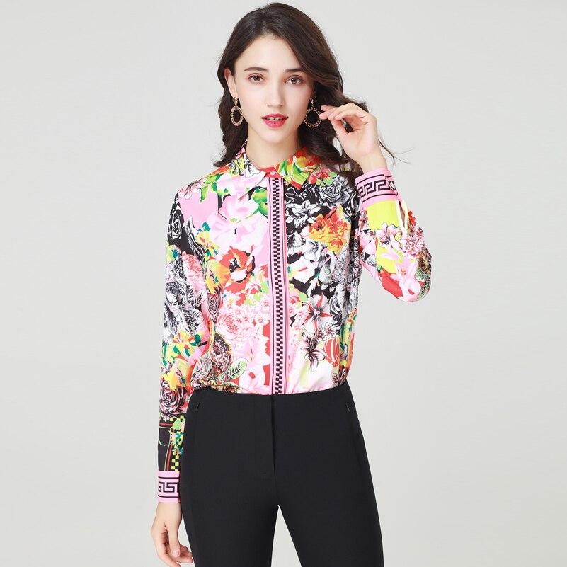 De Imprimer Fleur Femmes Blouses down Vintage Chemise Qualité Col Turn Mode Tops Et Nouveau Haute Designer Multi 2019 PISIq7