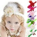 Хорошая эластичность, мягкий материал и красивый дизайн Перо Розы Дети Детские Младенческой Девушка Оголовье felpa pelo Vee_Mall