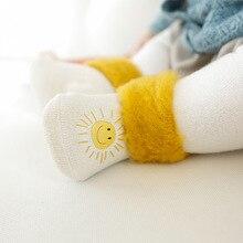 Новые зимние плюшевые теплые носки для малышей, детские носки без пятки с рисунком, детские носки для 0, 1, 3, 5 лет