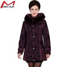 New Middle-Aged Women Winter Coat Thick Hooded Wadded  Cotton Padded Slim Plus Size Fur Collar Winter Coat Female Parka YL120
