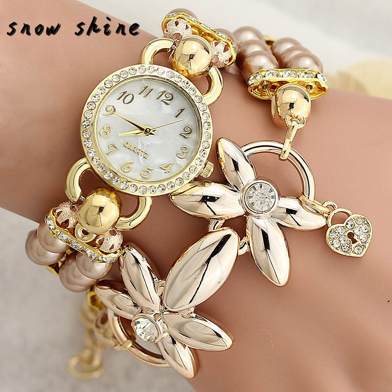 snowshine 10xin Fashion font b Luxury b font Pearl Bracelet Quartz Watches Women Casual Wristwatches free